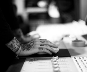tattoo, black and white, and oliver sykes image