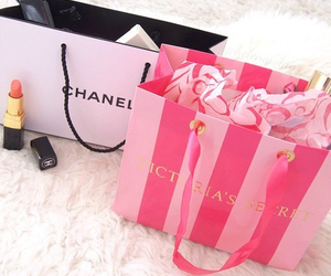 chanel, pink, and shopping image