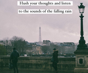 eiffel tower, paris, and rainy day image