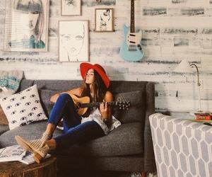 girl, fashion, and guitar image