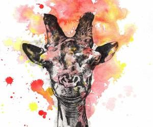 giraffe and watercolor image
