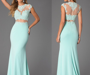 evening dresses, lace dresses, and mint green image