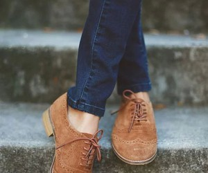 shoes, brown, and jeans image