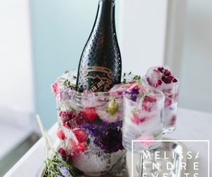 champagne, ice cubes, and wedding image
