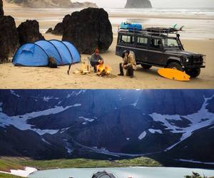 beach, camping, and mountain image