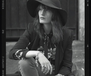 black and white, hat, and florence welsch image