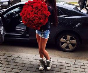 girl, roses, and car image