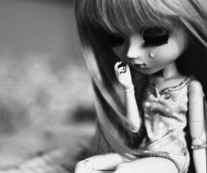 beautiful, black and white, and doll image