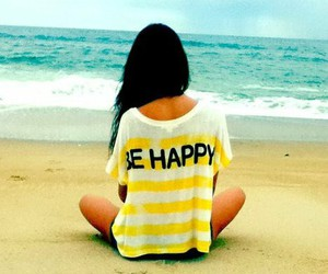 girl, beach, and happy image