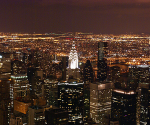 city, night, and new york image