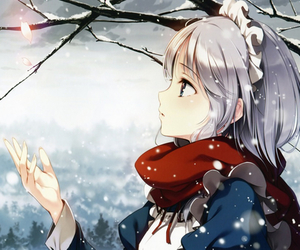 anime, snow, and anime girl image