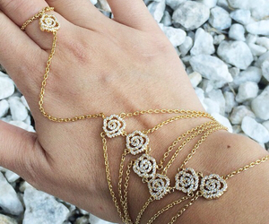 bracelet, gold, and pretty image