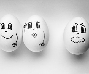 black and white, eye, and eggs image