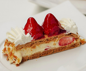 cake, cream, and red image