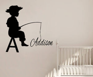 fishing, wall decals, and personalized name image