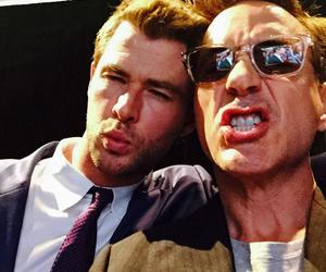 chris hemsworth, robert downey jr, and thor image