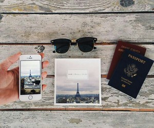 iphone, paris, and passport image