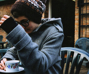 boy, glasses, and coffee image