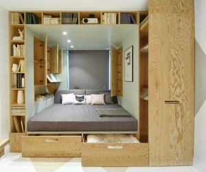 bed, bedroom, and closet image