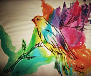 art, painting, and bird image