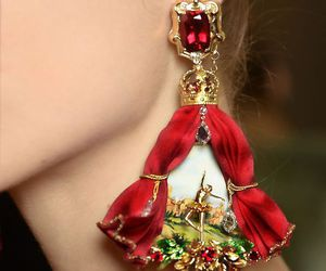 fashion, earrings, and red image