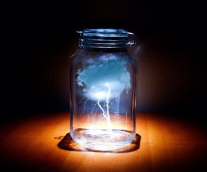 storm, clouds, and jar image