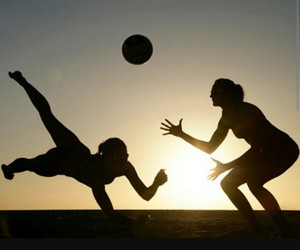 volleyball, beach, and volley image