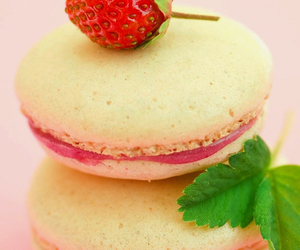 food, macaroons, and strawberry image