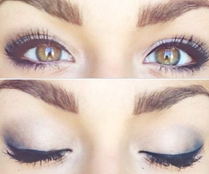 eyes, makeup, and outfit image