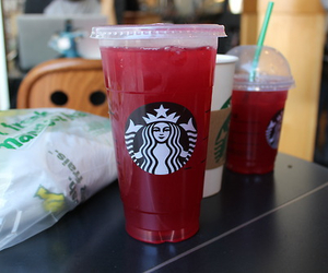 green, starbucks, and red image