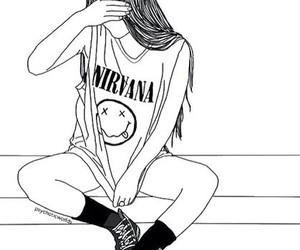 girl, nirvana, and outline image