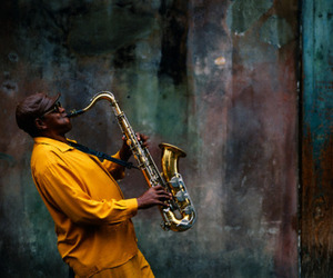 art, colour, and saxophone image