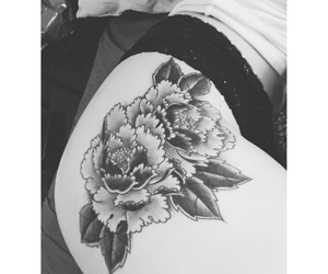 black and grey, black and white, and peonies image