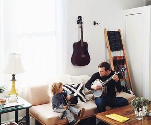 baby, father, and music image