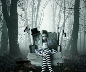 alice, black and white, and alice in wonderland image