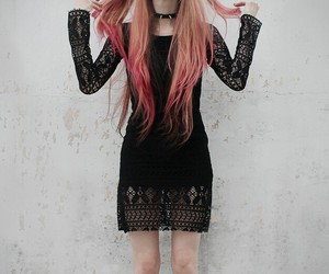 hair, pink, and black image
