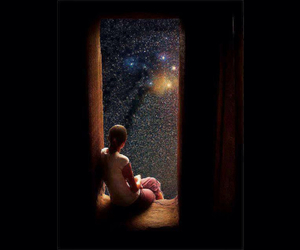 galaxy, space, and window image