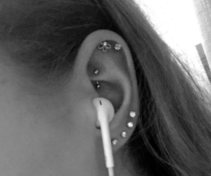 black and white, ear, and diamonds image