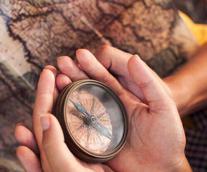 compass, travel, and hands image