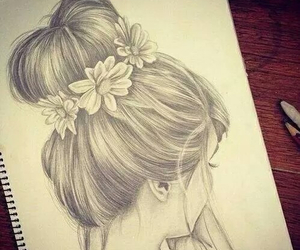 draw, flower, and girl image