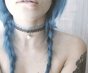 girl, blue, and grunge image