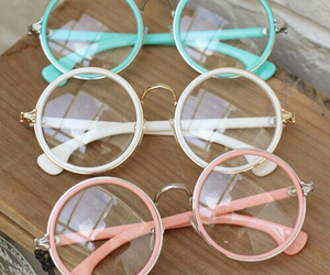 glasses, pink, and white image