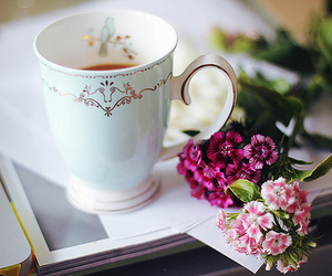 beautiful, cup, and flowers image