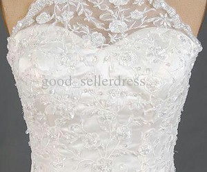 beaded, wedding dress, and halter neckline image