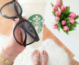 starbucks, sunglasses, and fashion image