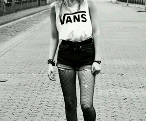 vans, girl, and black and white image