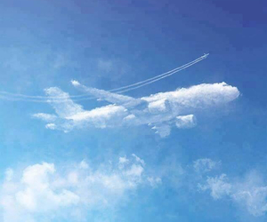 clouds, sky, and aircraft image