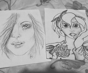 black and white, tattos, and drawing image