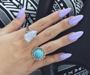 stone rings, blue rings, and lavender claw nails image