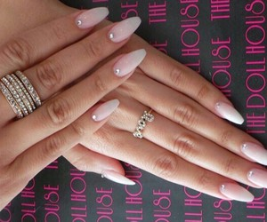 love rings, white coffin nails, and silver rings image
